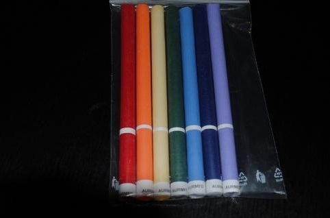 Farebné čakrové sviečky - veľké balenie